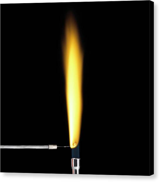 Flame Test Canvas Print - Sodium Flame Test by Science Photo Library