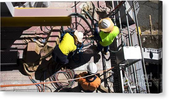 Hard Hat Canvas Print - Sorting Electrical Cords by Jorgo Photography - Wall Art Gallery