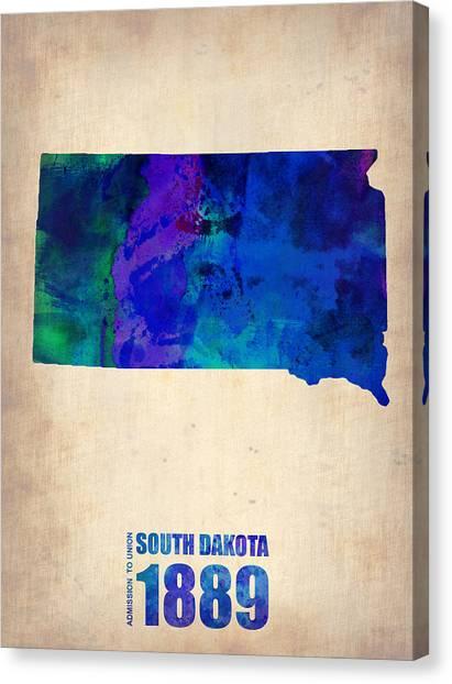 South Dakota Canvas Print - South Carolina Watercolor Map by Naxart Studio