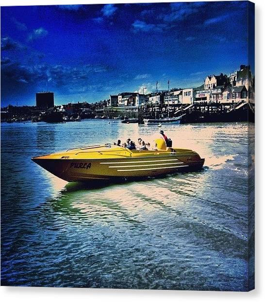 Water Skis Canvas Print - Speed Boat In Bridlington by Chris Drake