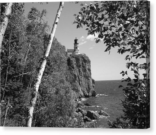 Split Rock Black And White Canvas Print