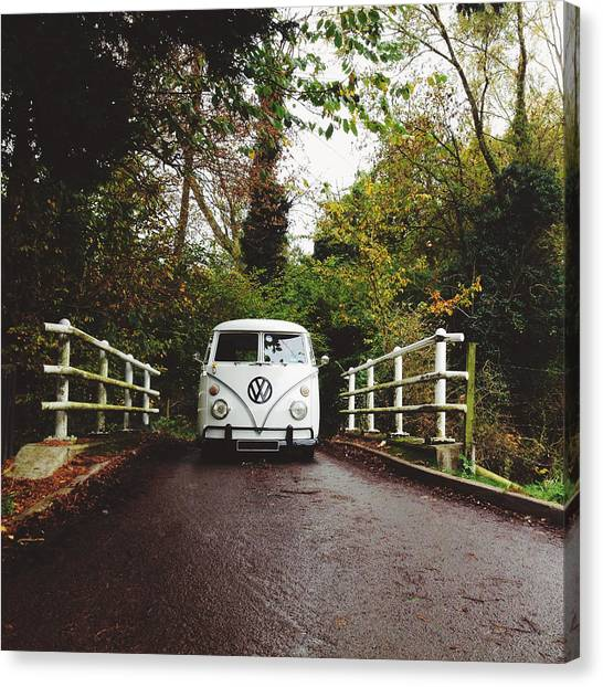 Vw Bus Canvas Print - Splitscreen Over Tewin Bridge IIi by Gemma Knight