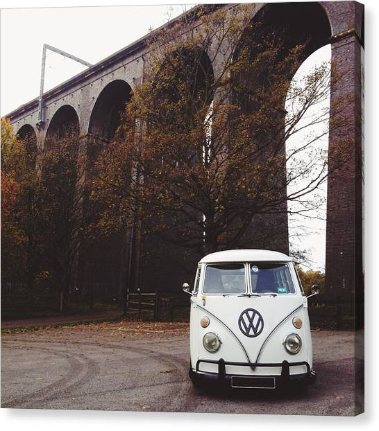 Vw Bus Canvas Print - Splitty By The Viaducts II by Gemma Knight