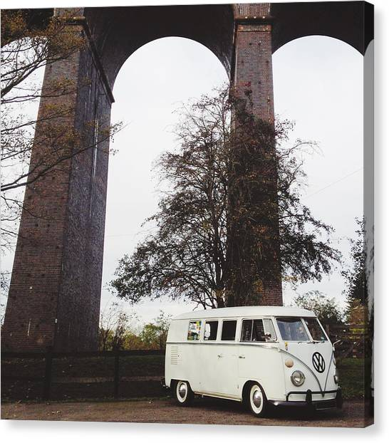 Vw Bus Canvas Print - Splitty By The Viaducts IIi by Gemma Knight