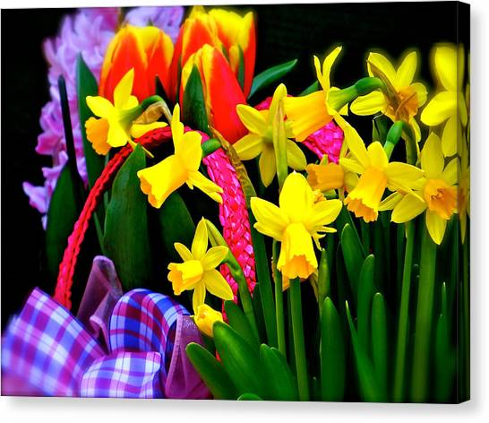 Easter Baskets Canvas Print - Spring Bouquet  by Ira Shander