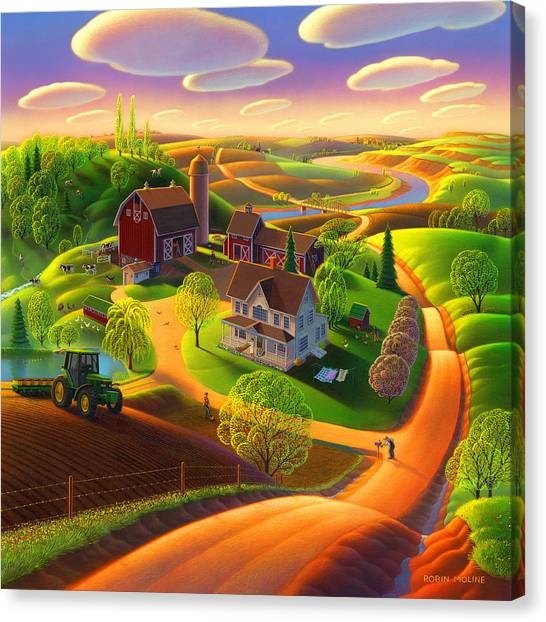 Farmhouse Canvas Print - Spring On The Farm by Robin Moline