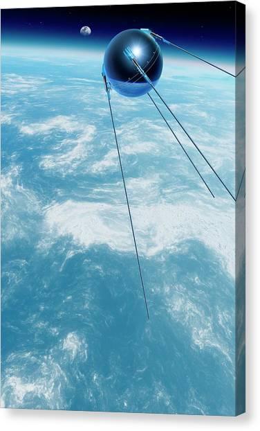 Sputnik 1 In Orbit Canvas Print by Detlev Van Ravenswaay