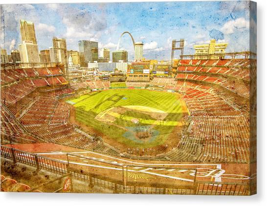 St. Louis Cardinals Canvas Print - St. Louis Cardinals Busch Stadium Texture 9252 by David Haskett II