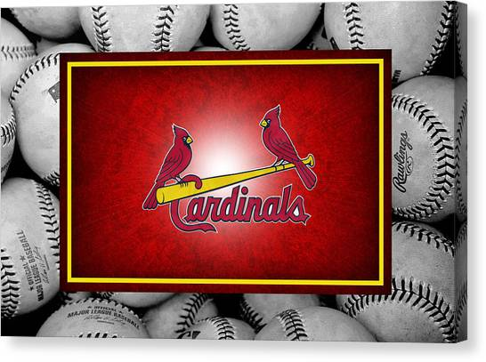 Bases Canvas Print - St Louis Cardinals by Joe Hamilton