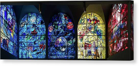 Canvas Print - Stained Glass Chagall Windows by Panoramic Images