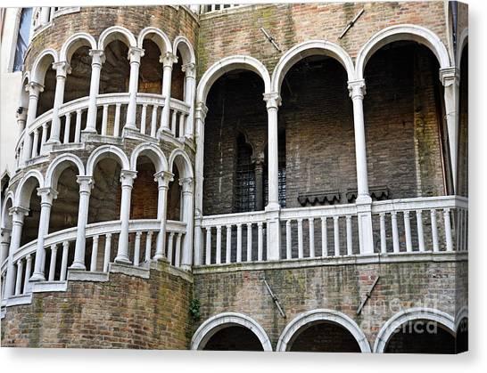 Staircase At Palazzo Contarini Del Bovolo Canvas Print by Sami Sarkis