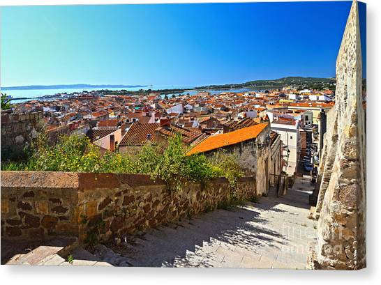 stairway and ancient walls in Carloforte Canvas Print