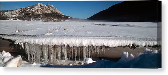 Stalactites Canvas Print - Stalactite Of Frozen Water In A Trough by Panoramic Images