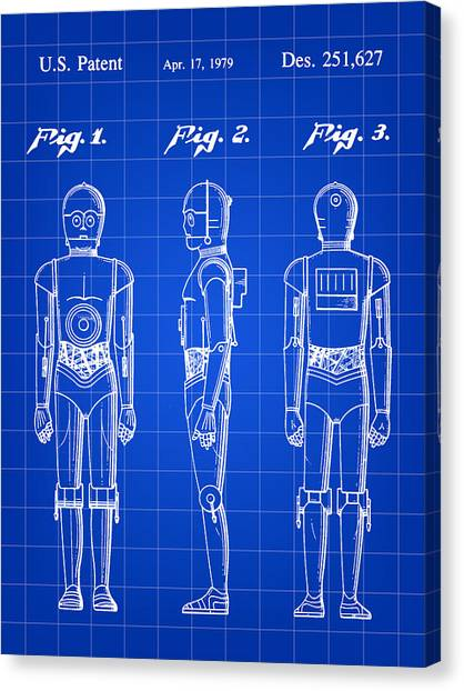R2-d2 Canvas Print - Star Wars C-3po Patent 1979 - Blue by Stephen Younts