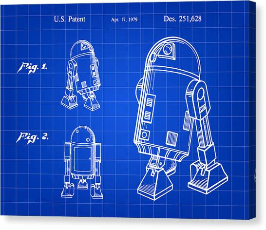 C-3po Canvas Print - Star Wars R2-d2 Patent 1979 - Blue by Stephen Younts
