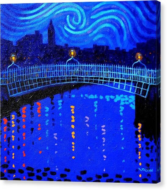 Starry Night In Dublin Canvas Print by John  Nolan