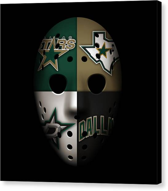 Dallas Stars Canvas Print - Stars Goalie Mask by Joe Hamilton