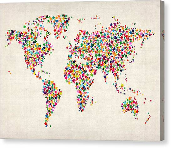 Vintage world map canvas prints fine art america vintage world map canvas print stars map of the world map by michael tompsett publicscrutiny Image collections