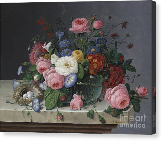 In Bloom Canvas Print - Still Life With Flowers And Birds Nest by Severin Roesen