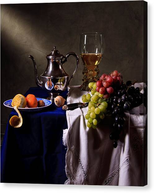 Still Life With Roemer And Silver Tea Pot Canvas Print