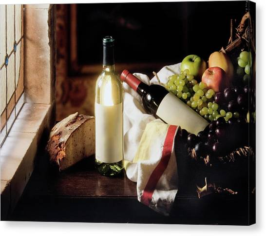 Still Life With Two Wine Bottles Canvas Print