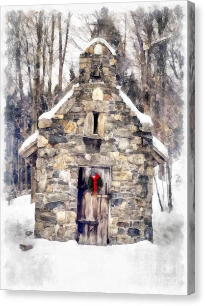 The Nature Center Canvas Print - Stone Chapel In The Woods Trapp Family Lodge Stowe Vermont by Edward Fielding