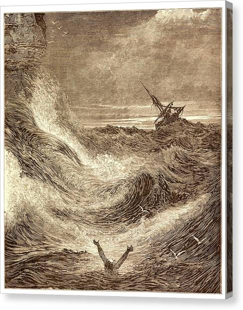Drown Canvas Print - Storm At Sea by David Parker/science Photo Library