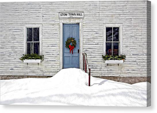 Stow Town Hall . 1842 Canvas Print by Thomas J Martin