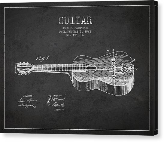 Guitars Canvas Print - Stratton Guitar Patent Drawing From 1893 by Aged Pixel