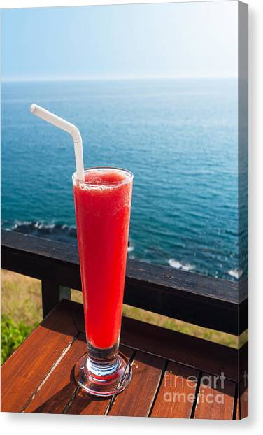Smoothie Canvas Print - Strawberry Smoothie Soda by Atiketta Sangasaeng