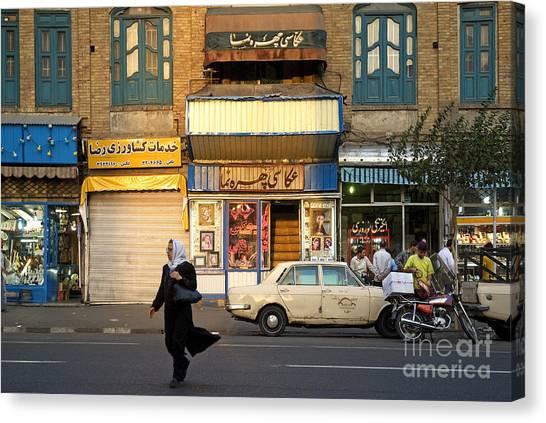 Street Scene In Teheran Iran Canvas Print