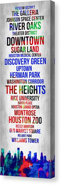 Houston Canvas Print - Streets Of Houston 1 by Naxart Studio
