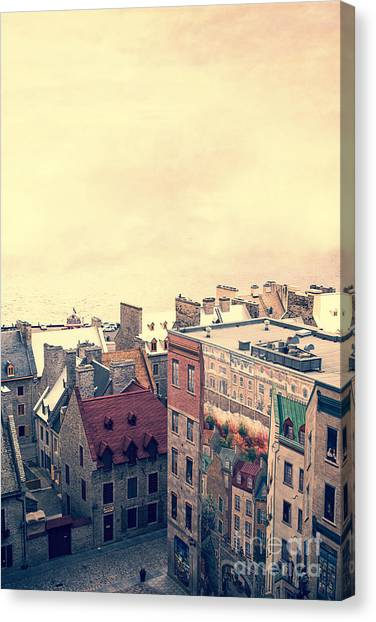 Quebec Canvas Print - Streets Of Old Quebec City by Edward Fielding
