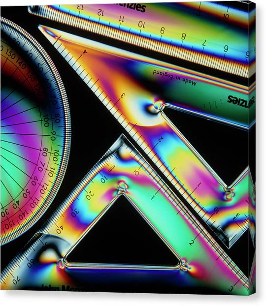 Protractors Canvas Print - Stress Patterns In Geometry Instruments by Sheila Terry/science Photo Library