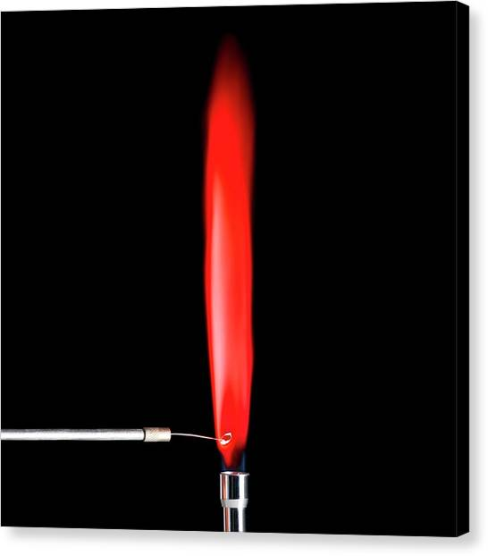Flame Test Canvas Print - Strontium Flame Test by Science Photo Library
