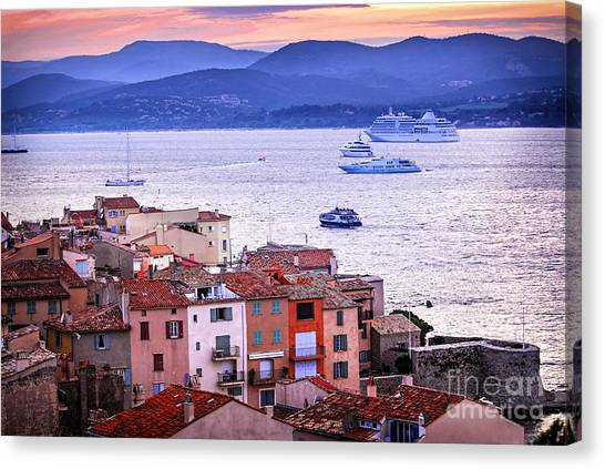 Southern France Canvas Print - St.tropez At Sunset by Elena Elisseeva