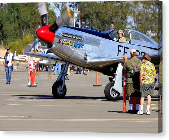 Stu Eberhardt And His P51d Merlin's Magic  Canvas Print by John King