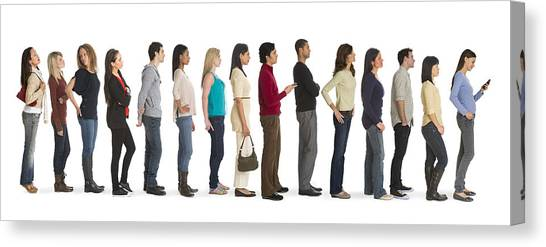 Studio Shot Of People Waiting In Line Canvas Print by Tetra Images
