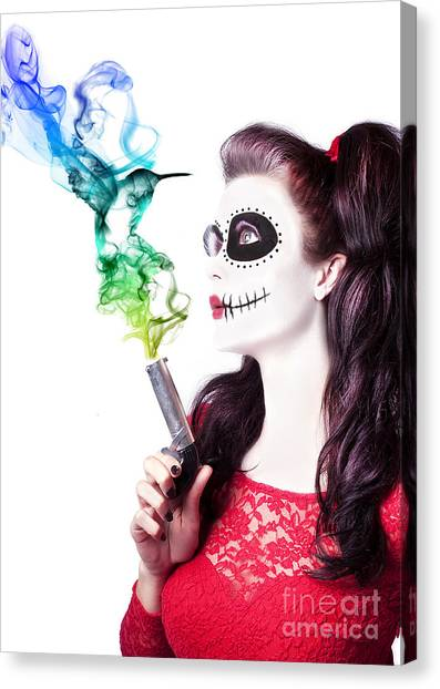 Gun Control Canvas Print - Sugar Skull Girl Blowing On Smoking Gun by Jorgo Photography - Wall Art Gallery