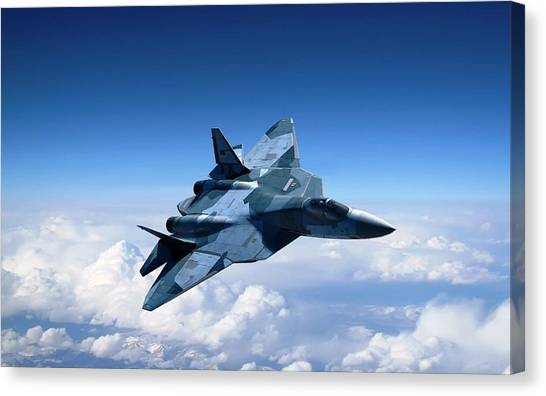Pak Fa Canvas Print - Sukhoi T 50 Stealth Fighter by L Brown