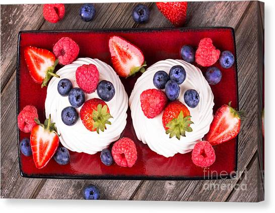 Blueberries Canvas Print - Summer Fruit Platter by Jane Rix