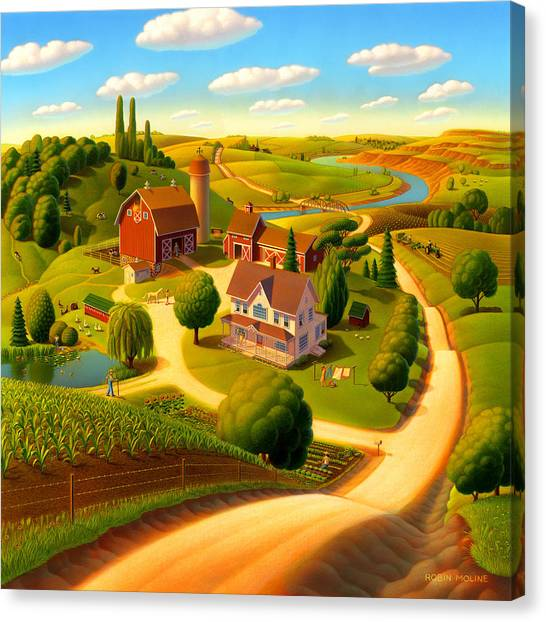 Barn Canvas Print - Summer On The Farm  by Robin Moline