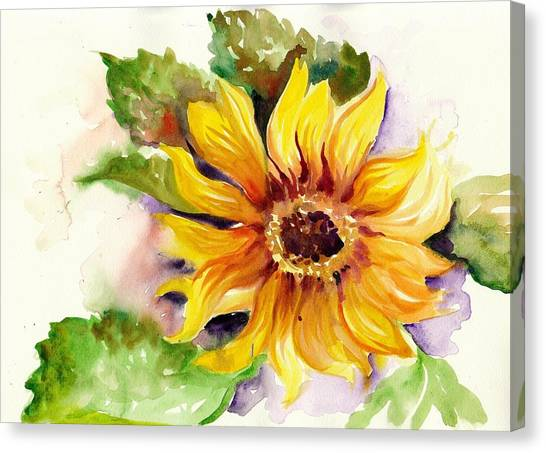 Installation Art Canvas Print - Sunflower Watercolor by Tiberiu Soos