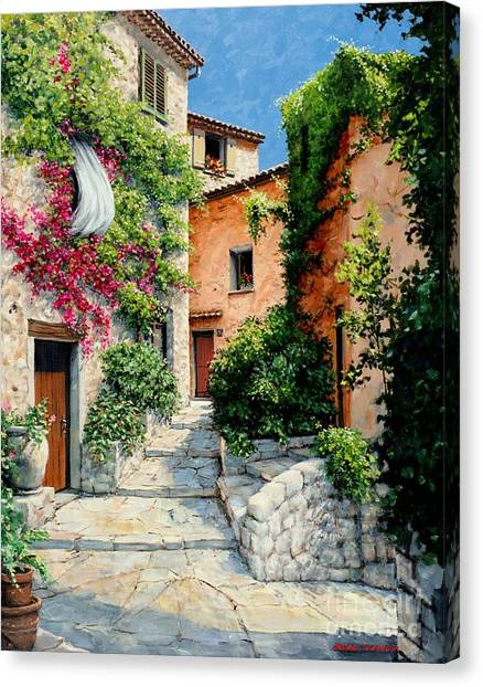 Artist Michael Swanson Canvas Print - Sunny Walkway by Michael Swanson