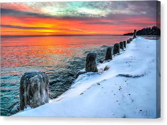 Sunrise North Of Chicago Lake Michigan 1-18-14 Canvas Print by Michael  Bennett