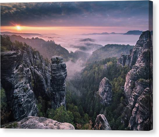 Sunrise Canvas Print - Sunrise On The Rocks by Andreas Wonisch