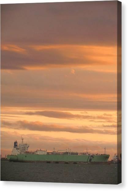 Sunrise Over Ship Canvas Print