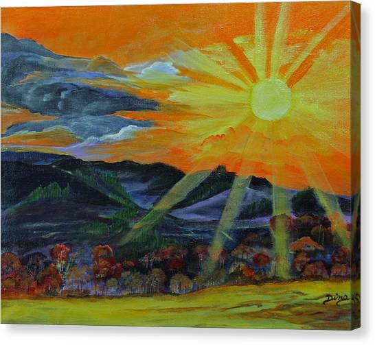 Sunrise Over The Mountains Canvas Print by Dina Jacobs
