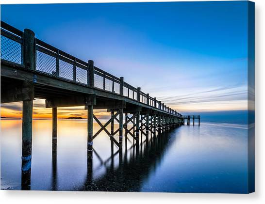 Sunrise Under The Boardwalk Canvas Print