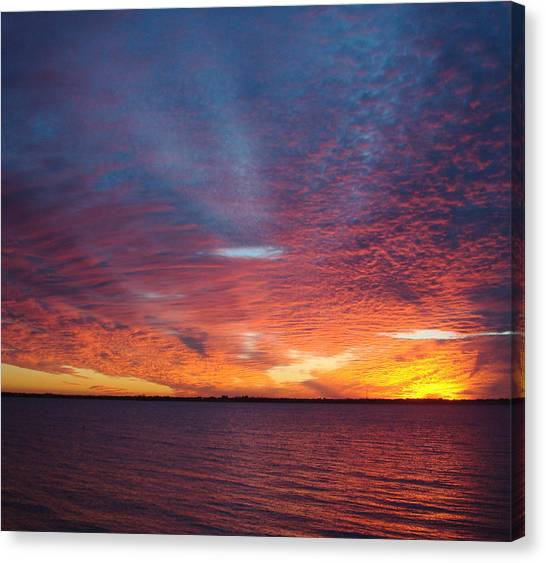 Sunset At Cafe Coconut Cove 5 Canvas Print